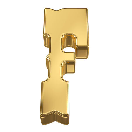goldbars: Letter F from gold solid alphabet, tilt 30 degrees, render Stock Photo