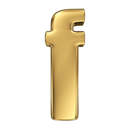 gold standard: Letter f from gold solid alphabet. Lowercase Stock Photo