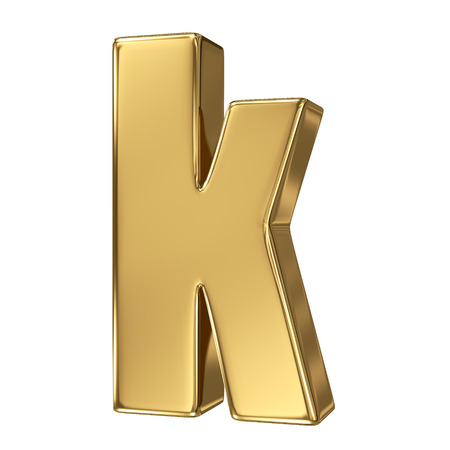 gold standard: Letter k from gold solid alphabet. Lowercase