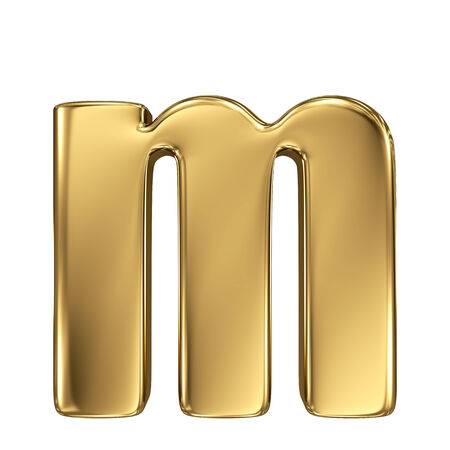 goldbars: Letter m from gold solid alphabet. Lowercase Stock Photo