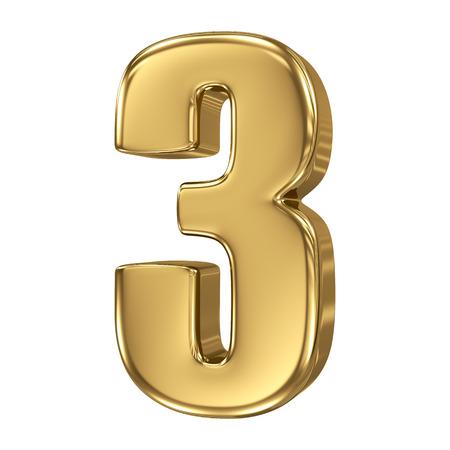3D gouden nummer collectie - 3 Stockfoto