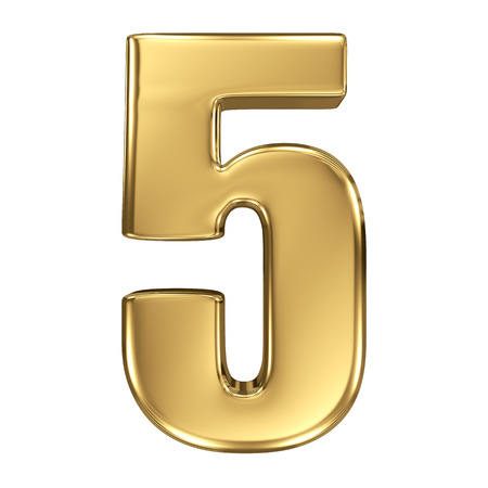 alphabet number: 3d golden number collection - 5