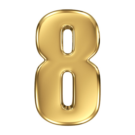 number eight: 3d golden number collection - 8
