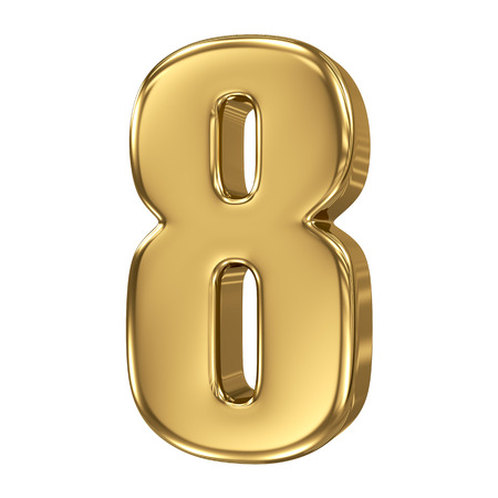 3d golden number collection - 8