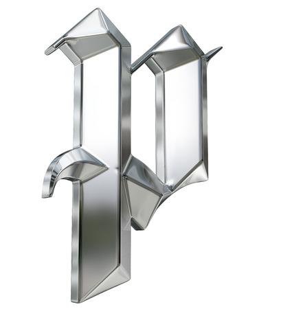metallic letters: Metallic patterned letter of german gothic alphabet font. Letter p
