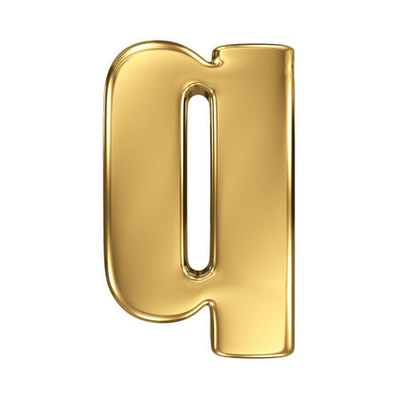 goldbars: Letter q from gold solid alphabet. Lowercase Stock Photo