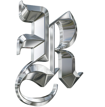 Metallic patterned letter of german gothic alphabet font. Letter R