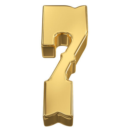 goldbars: Digit figure 7 from gold solid alphabet, tilt 30 degrees, render