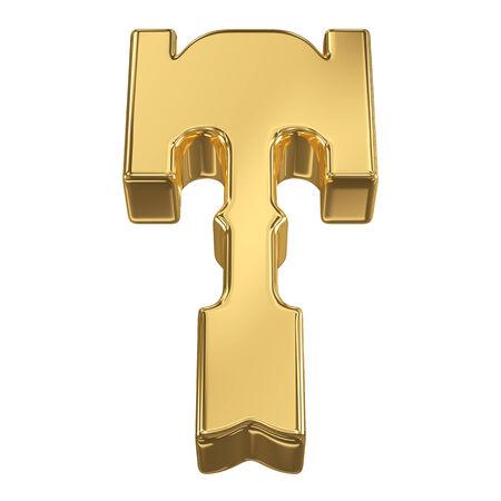 gold rush: Letter T from gold solid alphabet, tilt 30 degrees, render
