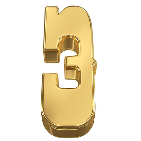 bank vault: Digit figure 3 from gold solid alphabet, tilt 30 degrees, render Stock Photo