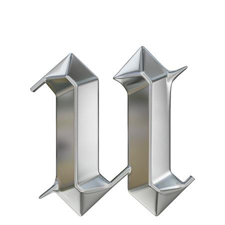 Metallic patterned letter of german gothic alphabet font. Letter u
