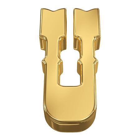 tilt: Letter U from gold solid alphabet, tilt 30 degrees, render Stock Photo