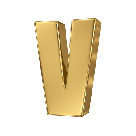 Letter v from gold solid alphabet. Lowercase photo