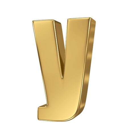 goldbars: Letter y from gold solid alphabet. Lowercase