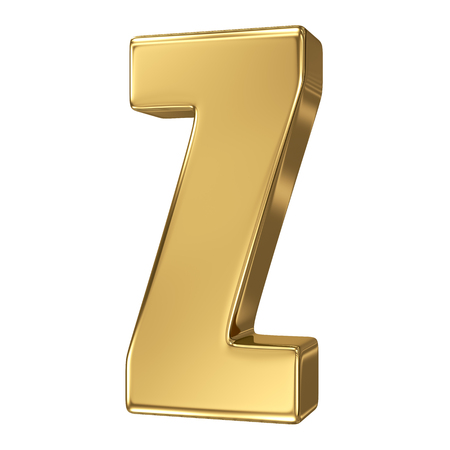 gold font: Letter Z from gold solid alphabet Stock Photo