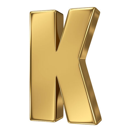 goldbars: Letter K from gold solid alphabet
