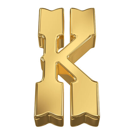 goldbars: Letter K from gold solid alphabet, tilt 30 degrees, render