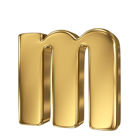 standard: Letter m from gold solid alphabet. Lowercase Stock Photo