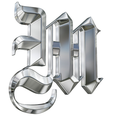 Metallic patterned letter of german gothic alphabet font. Letter M photo