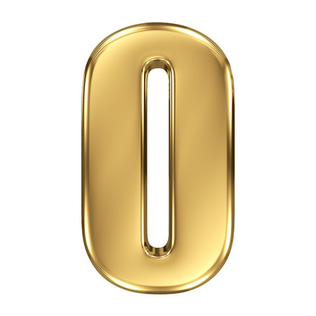 metallic letters: 3d golden number collection - 0
