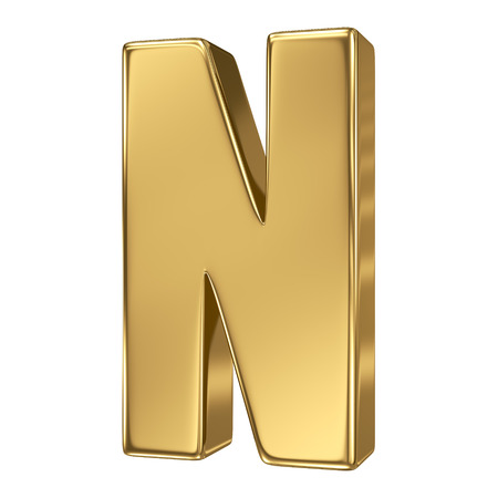 gold standard: Letter N from gold solid alphabet Stock Photo