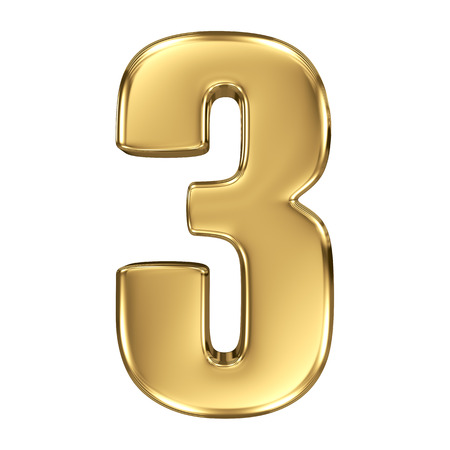 number three: 3d golden number collection - 3