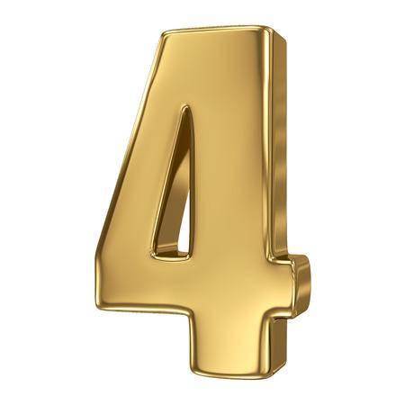 3d golden number collection - 4 Standard-Bild