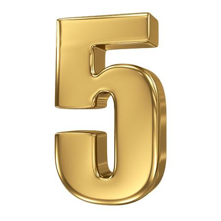 nombre d or: 3D Golden collection de nombre - 5 Banque d'images