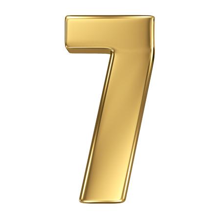 number 7: 3d golden number collection - 7