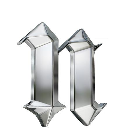 金属は、ドイツのゴシック様式アルファベットのフォントの文字をパターン化。文字 n
