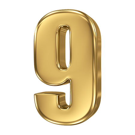 3d golden number collection - 9