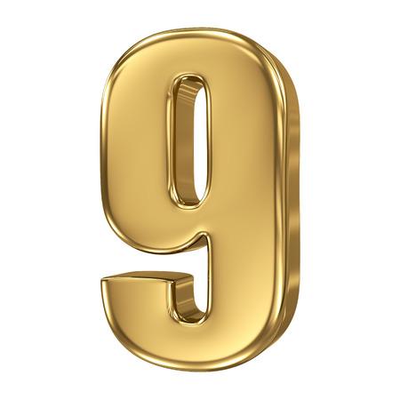 3d golden number collection - 9 版權商用圖片 - 27208691
