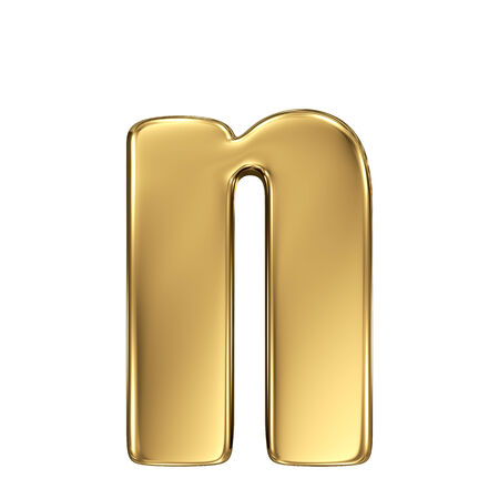 goldbars: Letter n from gold solid alphabet. Lowercase