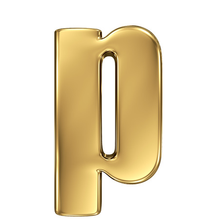 goldbars: Letter p from gold solid alphabet. Lowercase Stock Photo