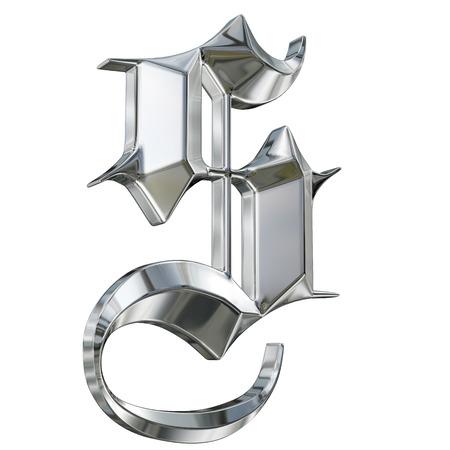 Metallic lettre à motifs de la langue allemande font alphabet gothique. Lettre S Banque d'images - 27208782