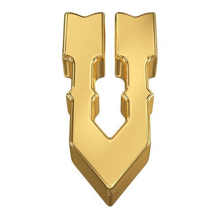 gold rush: Letter V from gold solid alphabet, tilt 30 degrees, render