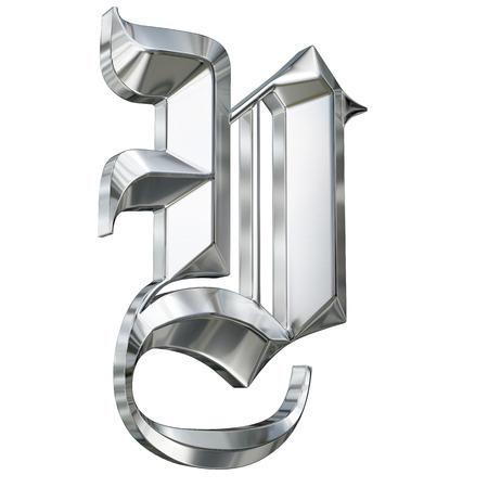 ドイツのゴシック様式アルファベット フォントの金属パターンの手紙。手紙 V