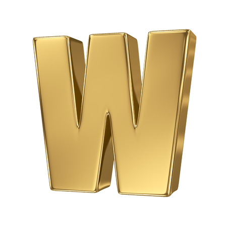 goldbars: Letter w from gold solid alphabet. Lowercase Stock Photo