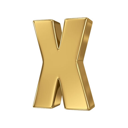 goldbars: Letter x from gold solid alphabet. Lowercase