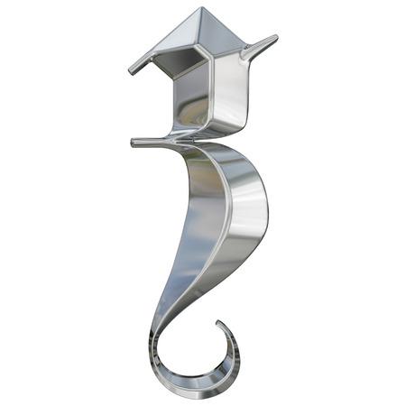 Metallic patterned letter of german gothic alphabet font. Letter z