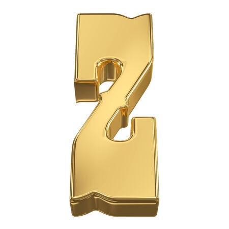 gold rush: Letter Z from gold solid alphabet, tilt 30 degrees, render