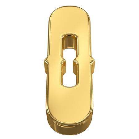 goldbars: Digit figure 0 from gold solid alphabet, tilt 30 degrees, render Stock Photo