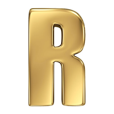 gold standard: Letter R from gold solid alphabet Stock Photo