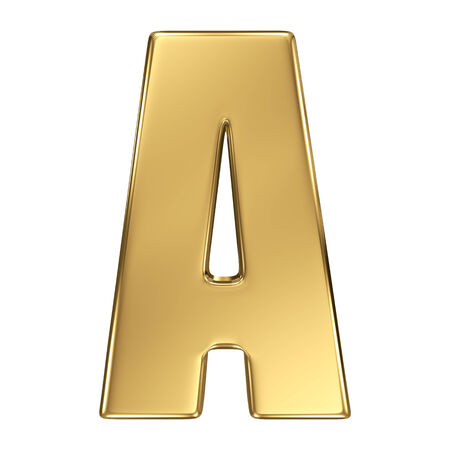 lettres alphabet: Lettre A de l'alphabet en or massif Banque d'images