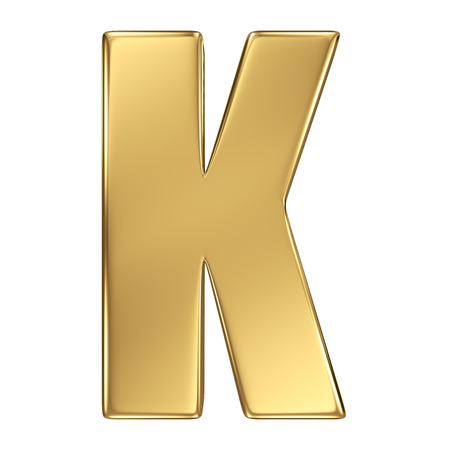 letter k: Letter K from gold solid alphabet