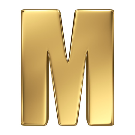gold standard: Letter M from gold solid alphabet