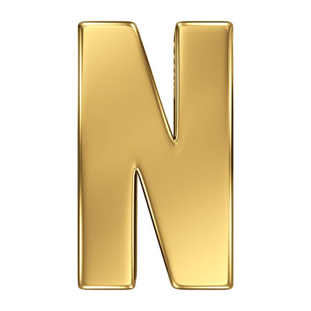 golden font: Letter N from gold solid alphabet Stock Photo