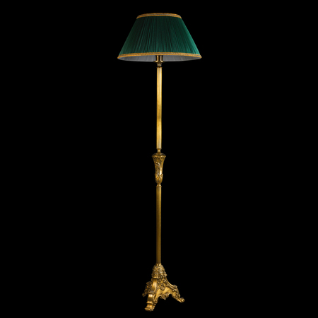 lamp stand: Ornamental vintage stand floor lamp isolated on black background with clipping path Stock Photo