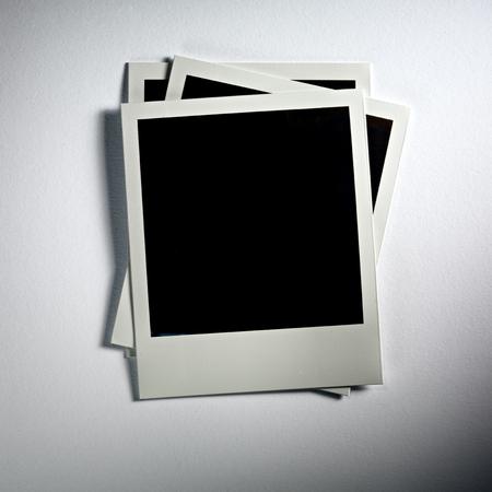Polaroid Film Vintage empty photo cards on white background photo