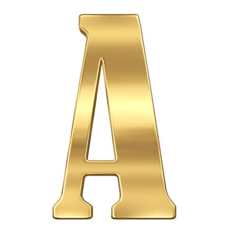 Letter A from gold solid alphabet. Stock Photo